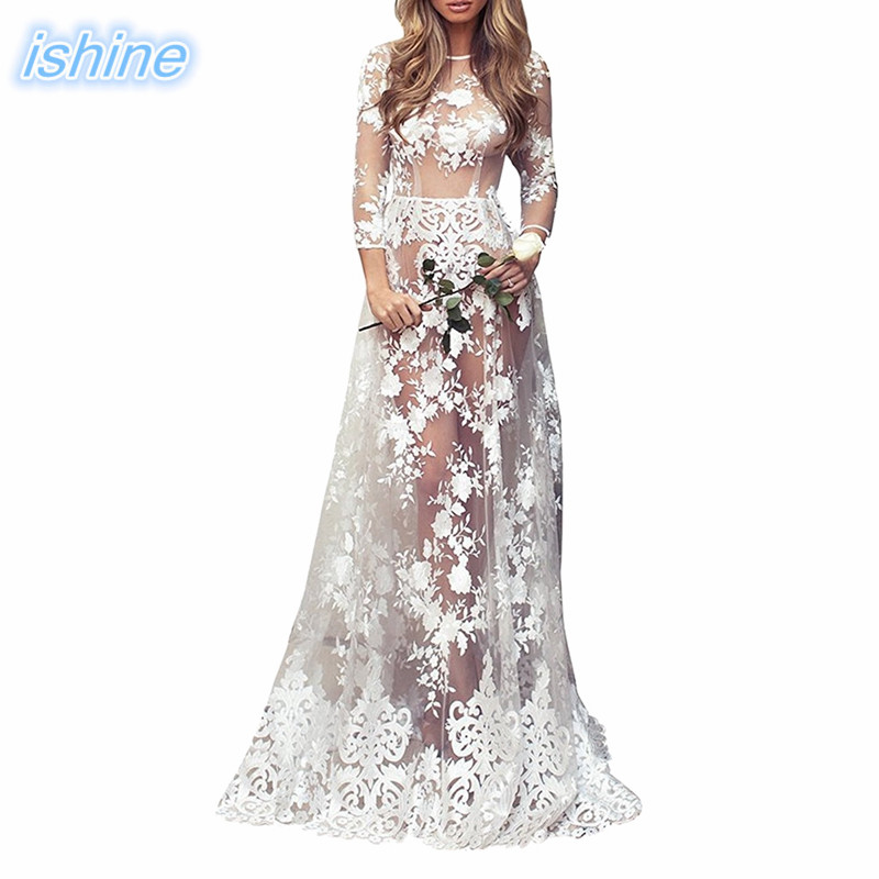 Длинное женское кружевное вечернее платье 2018 модное платье для фотосъемки бальное платье белое прозрачное платье для выпускного вечера дл...