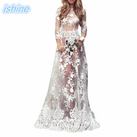Long Women Lace Party Dresses 2018 Fashion Photography Dress Ball Gown White Prom See through Dress For Wedding Evening Party