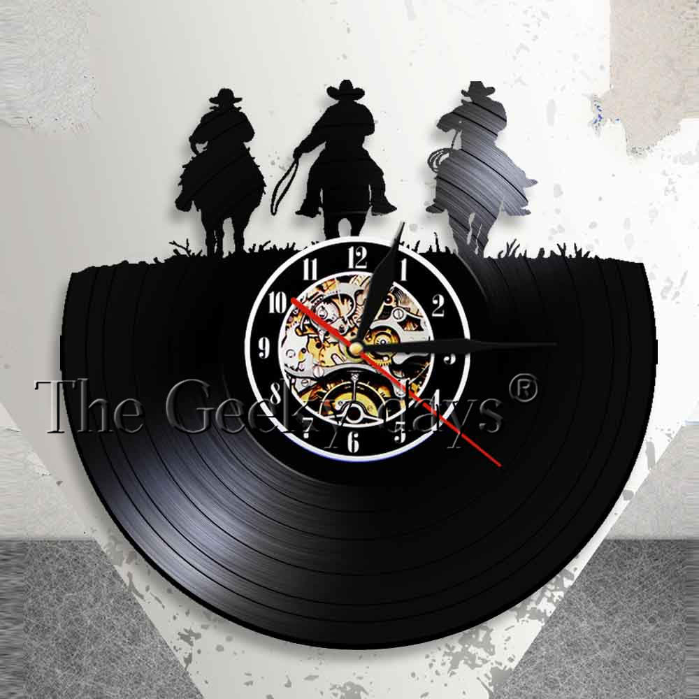 Led Lamps 1piece Bull Rider Led Light Vinyl Record Wall Clock With Led Illumination Wild Western Cowboy Farm Decorative Lighting