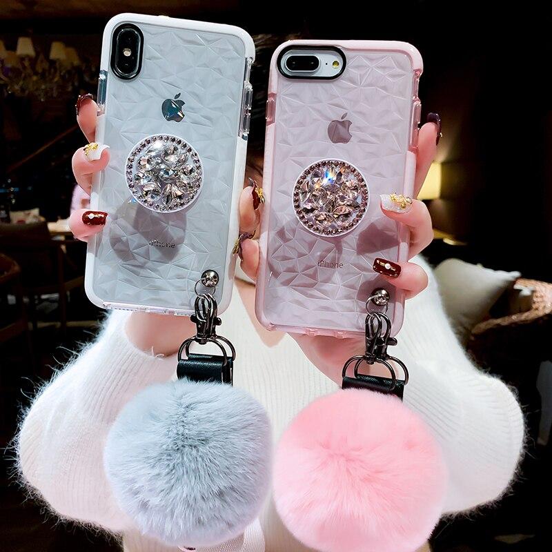HTB1q.0ELFzqK1RjSZFoq6zfcXXa1 Luxury diamond cute hair ball lanyard bracket soft case for iphone 7 X XR XS 11 pro MAX 8 6S plus for samsung S10 S8 S9 Note A50