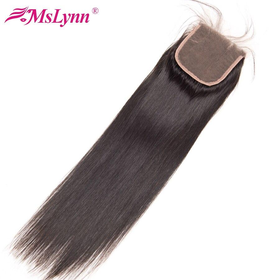 Mslynn שיער חלק מלזי סגירת תחרה העליונה שיער אנושי 1 צרור תחרה שוויצרית סגר עם בייבי שיער מראש קטף 4x4 ללא רמי