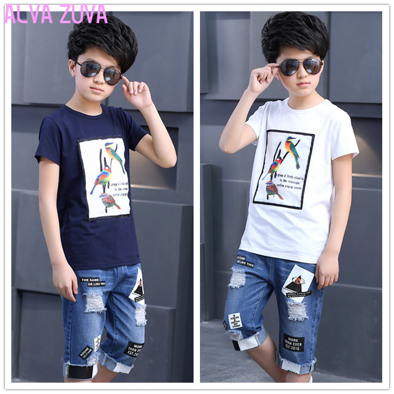 Summer 2017 Teenagers Boys Clothing Set Children Tops+Denim Shorts Casual Suit Kids Sports Tracksuits For Boy 6-14T Ctl281