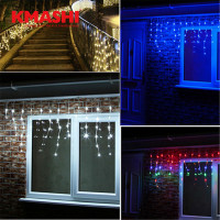 Warm White Holiday Lighting 5M 216LED Waterproof String Fairy Light Icicle Curtain Festival Christmas Garland Decoration