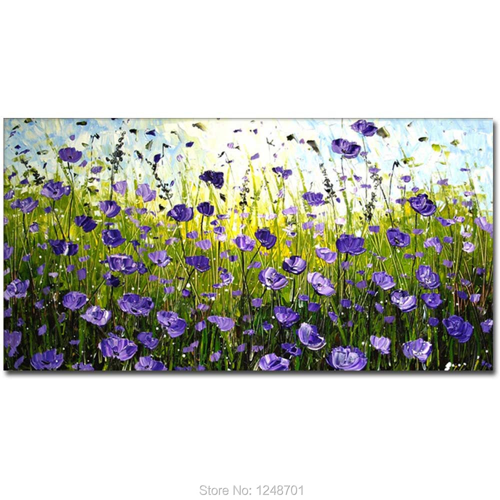 Purple Flower Oil Painting Abstract Wall Art Picture: Large Size Hand Painted Abstract Purple Flower Field