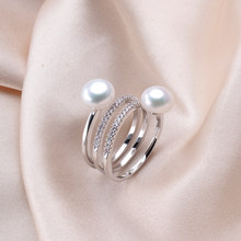 New Design Natural Freshwater Pearl wedding ring for women 4 colors Female 925 silver jewelry Fashion RING(China)