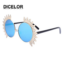 DICELOR 5 Colors Mirror Flat Sunglasses for Women Flower Sun Glasses Female Leisure Eyewear Protection font