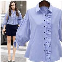 Hot Spring And Summer Blue Stripe Peter Pan Collar Women Shirt Puff Sleeve XXXXXL Loose Blouse
