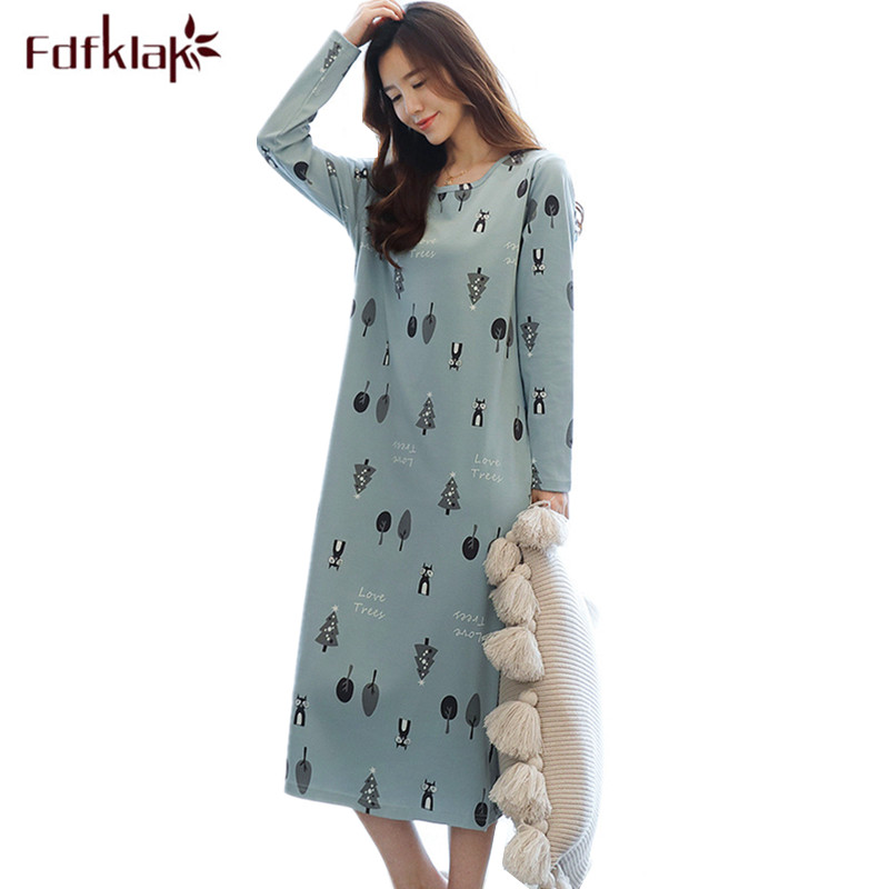 Fdfklak Plus Size Cotton Nightdress Women Print Spring Autumn Nightgowns Female Long Sleeve Sleep Dress Women's Nightshirt 3XL
