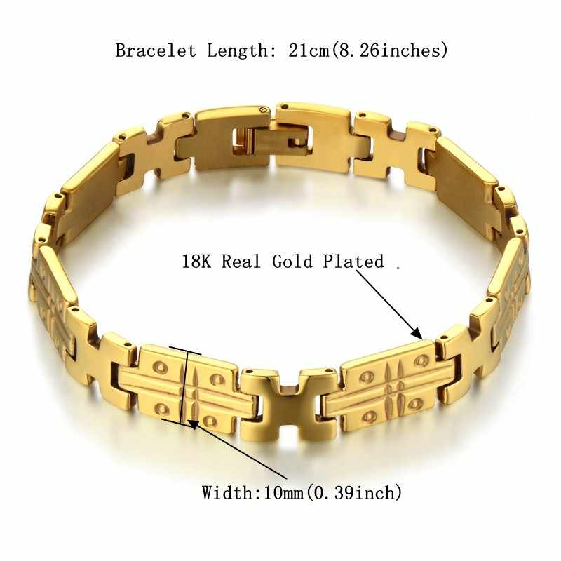 Men's Bracelets Gold Stainless Steel Curb Link Chain Bracelets For Men Women Wholesale Jewelry Gift