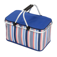 Outdoor Camping Lunch Bag Folding Aluminum Alloy Basket Folding Cooler Baskets Foldable Shopping Picnic Basket