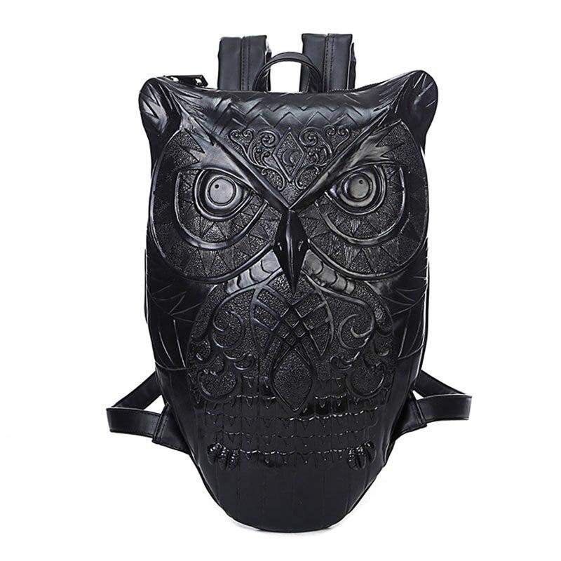3D Owl Unisex mochilas Feminina Backpacks for Women Cool Leather Backpack Female Hot men Bag Hio-Hop Style School Bags Vintage цена