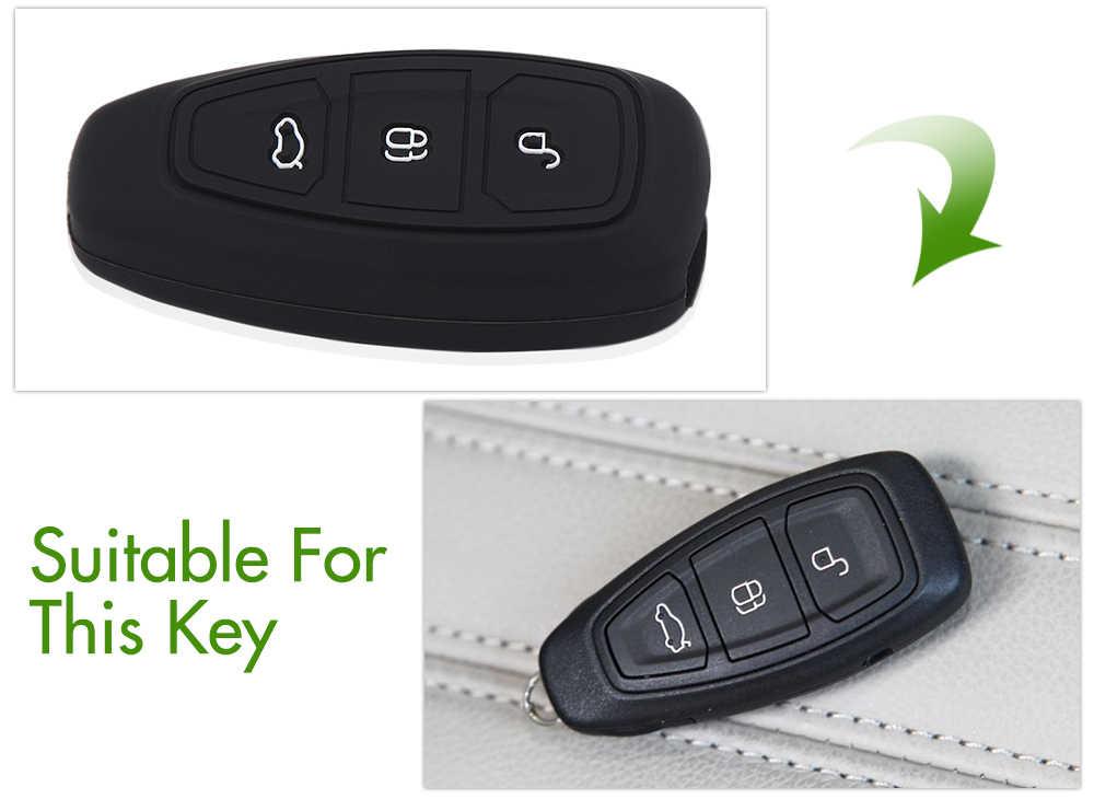 AndyGo, carcasa de silicona para llave de coche, caja de llave remota inteligente para Ford Fiesta Focus 3 4 MK3 MK4 Mondeo Ecosport Kuga Focus ST