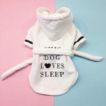 961b20932c1cd Pet мужской банный халат кашемировое кофта с капюшоном для домашнего  животного Ночная рубашка пижамы халат для