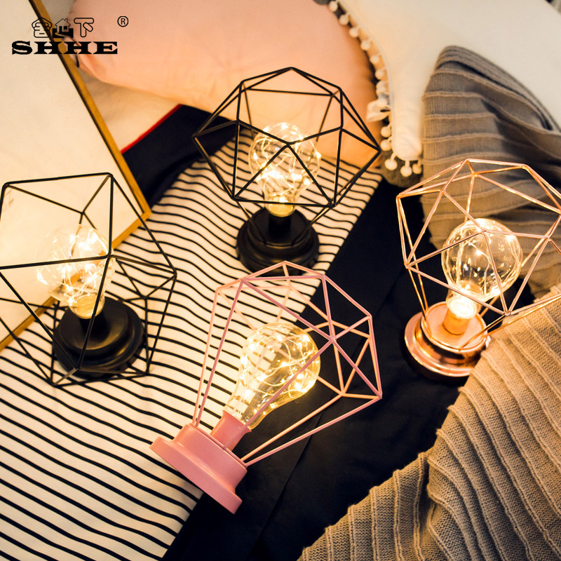 Us 19 1 42 Off Creative Minimalist Retro Style Candlestick Table Lamp Multiple Iron Wire Made Geometric Shapes Home Decor Table Light Dropship In