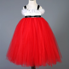 2016 New Baby Girls Kids Christmas Party Dresses Red Tulle Tutu Dress Princess Christmas Costume New Year Feathers Girl Dresses
