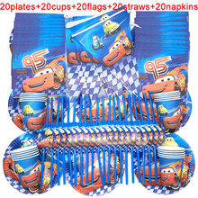 100PCS Disney Cars Party Supplies Decorate Paper Cups Plates Banners Kids Birthday The Car Macqueen Decoration Sets