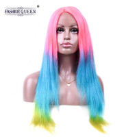 Pre Colored Pink Blue Green Human Hair Wigs Rainbow Color Straight Wigs with Baby Hair 130% Density Non Remy