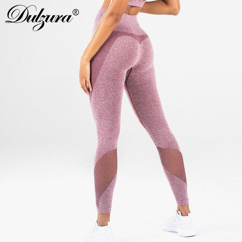 Dulzura mesh patchwork high wasit push up   leggings   2018 women sexy fitness leggins stretch workout sportswear pants
