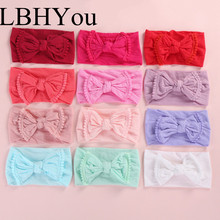 12pcs/lot Newborn Girls Pompom Trim Nylon Headbands Fashion Wide Head Band Kids Hair Accessories