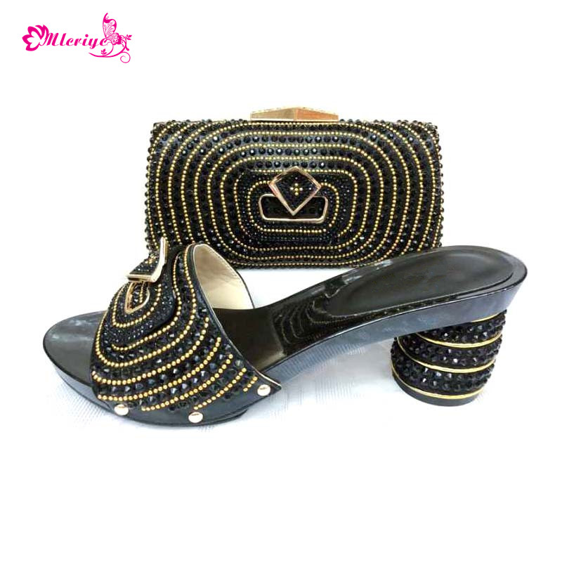 0039 black color Italian Shoes with Matching Bag Set Decorated with Rhinestone African Wedding Shoe and Bag Set Italy Shoes wine color italian shoe with matching bag set decorated with rhinestone african shoes and bag set for party in women italy shoes