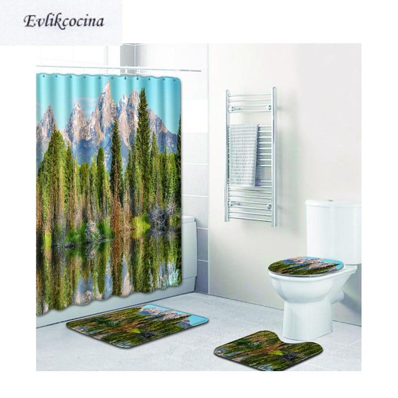 Free Shipping 4pcs Trees Reflection Banyo Bath Mats Set