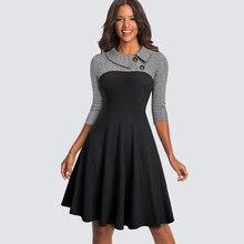 여성 빈티지 맞는 및 플레어 스윙 스케이팅 작업 비즈니스 오피스 파티 캐주얼 드레스 HA136