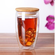 Double Wall Clear Glass Tea Cup + Bamboo lid Set ,Double Layer cup,mug
