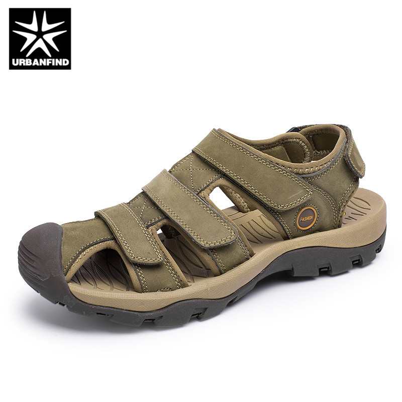 URBANFIND Classic Men Genuine Leather Sandals Summer Shoes Size 38-46 High Quality Male Breathable Comfortable Sandals