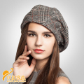 2016 Brand Quality Autumn Beret Hat Women Girl Women Casual Winter Wool Blend Cap Fashion Plaid Beret Painter Octagonal Cap