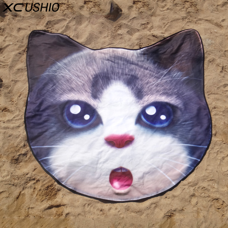 Garden Supplies Power Source Enthusiastic Xc Ushio New Style Microfiber 155*140cm Cute Cat Round Beach Towel Bikini Cover Up Picnic Blanket Wall Tapestry Toalla De Playa High Standard In Quality And Hygiene
