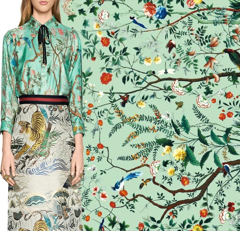 145cm fashion printed fabric diy dress scarf satin fabric Italian brand  clothing polyester fabric material wholesale cloth