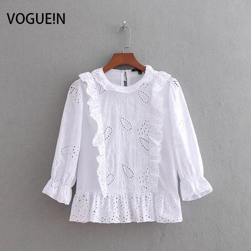 80cf7de85bcf VOGUEIN nuevas mujeres dulce blanco volantes bordado hueco pulóver blusa  Tops al por mayor