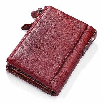 KAVIS 100% Genuine Leather Vintage Small Women Wallets Female Womens Wallet Zipper Design With Coin Purse Pockets Mini Walet