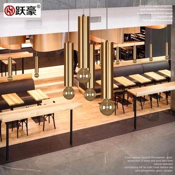 Nordic Del Progettista Di Stile Led Di Ferro Oro Bastone Luce Del Pendente Per Sala Da Pranzo Con Golden Singola Testa Appesa Luce