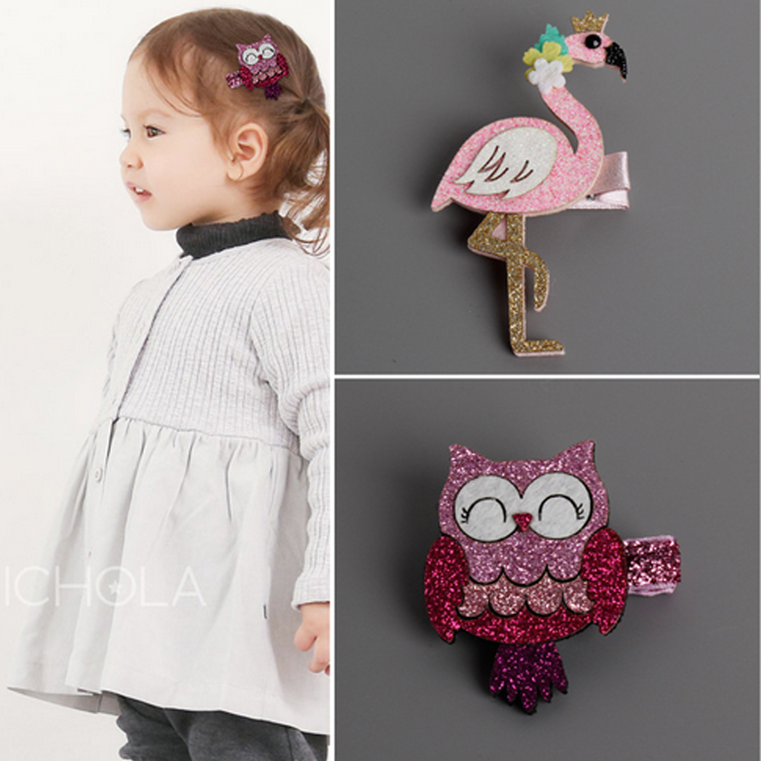 New Cute Cartoon Flamingo And owl Baby Hairpins kids Hair Clips Children Headwear Princess Barrette Girls Hair Accessories baby cute style children accessories hairpins rabbit fur ear kids girls barrette lovely hair clip