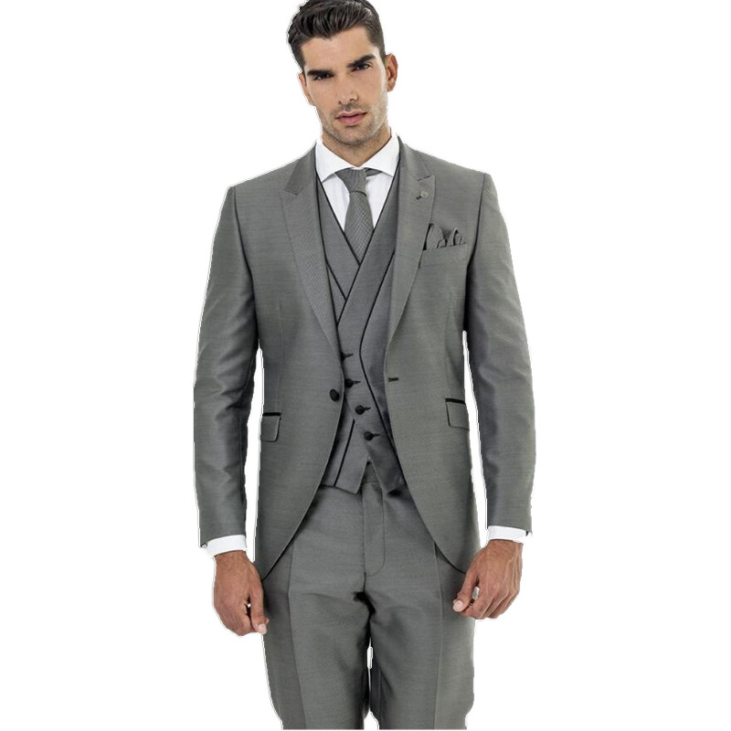 Custom Made Gray Wedding Suits Groom Suits Groomsman Suits Men Formal Tuxedos three-Piece ...