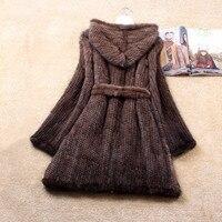 Зимняя натуральная вязаная норковая шуба, куртка, женский меховой Тренч, пальто худи, верхняя одежда, пальто, большие размеры 4XL 5XL 1369