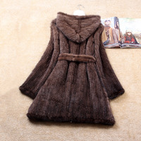 Winter Genuine Natural Knitted Mink Fur Coat Jacket Women Fur Trench Overcoat Hoody Outerwear Coats Plus Size 4XL 5XL 1369