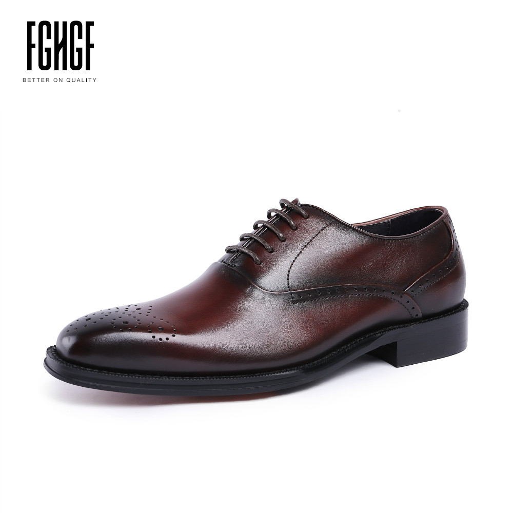 Classic Men's Oxfords Shoes Genuine Leather Cowhide Leather Square Toe Brogue Style Dress Wedding Business 2018 New Lace-up 247 classic leather