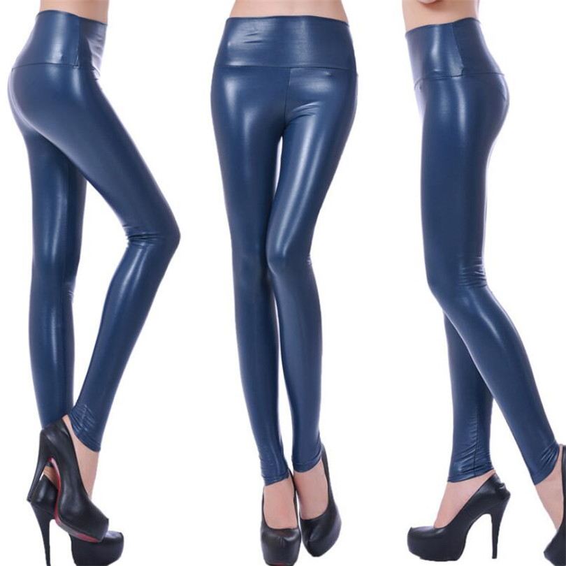 Image 5 - VISNXGI High Waist Faux Leather Leggings Women Hot Sexy Black Faux Leather Leggings Shiny Pants Stretchy Plus Size Trousers 2019-in Leggings from Women's Clothing