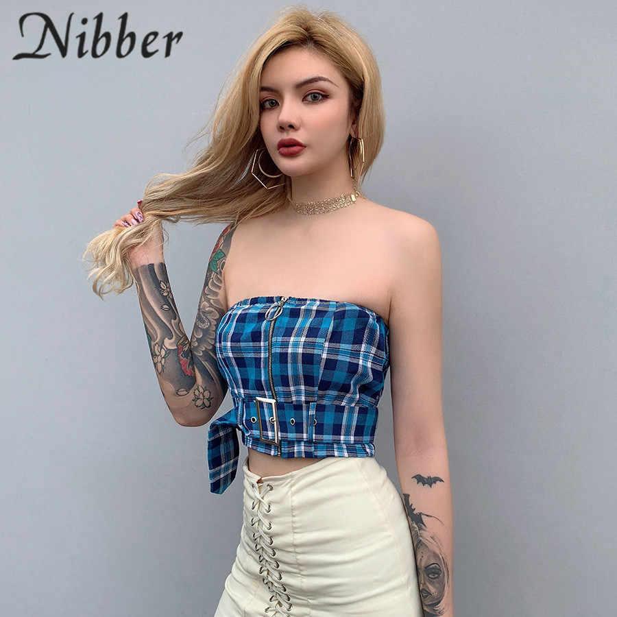 af84b86dbd2 ... Nibber summer blue Plaid pattern Elegant Tank Tops women camis Fashion  tees sexy Party Crop Top ...