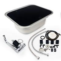 BIKINGBOY Full Set 50cm*42cm*20cm RV Caravan Camper Stainless Steel Hand Wash Basin Kitchen Sink Tab + Glass Lid