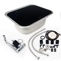 BIKINGBOY Full Set 50cm*42cm*20cm RV Caravan Camper Stainless Steel Hand Wash Basin Kitchen Sink Tab + Glass Lid