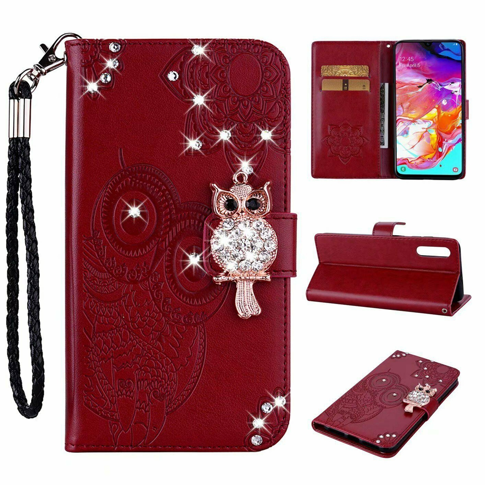 Luxury Bling Diamond Owl For <font><b>Samsung</b></font> Galaxy A20E A60 M40 A80 A20S A10S Leather <font><b>Flip</b></font> Wallet Stand Phone <font><b>Case</b></font> With Strap image