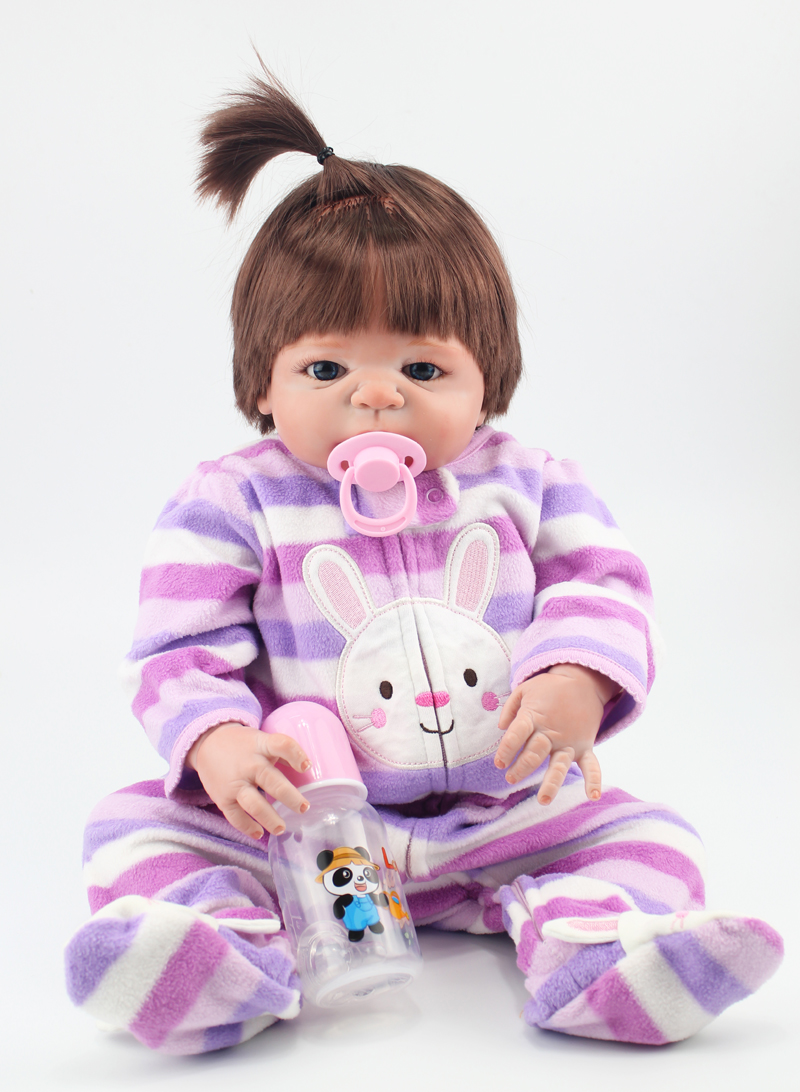 55cm Lovely full body silicone reborn girl baby doll toys newborn babies doll chirld fashion birthday gift present girls brinque aiboully full range peppaed pig toys pvc action figur toy juguetes baby kid birthday gift brinque