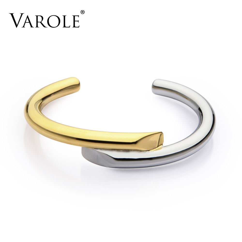 VAROLE Brand New Jewelry Simple Lines Design Bracelet Gold Color Bangle Bracelets For Women Cuff Bracelets Manchette Bangles цены онлайн