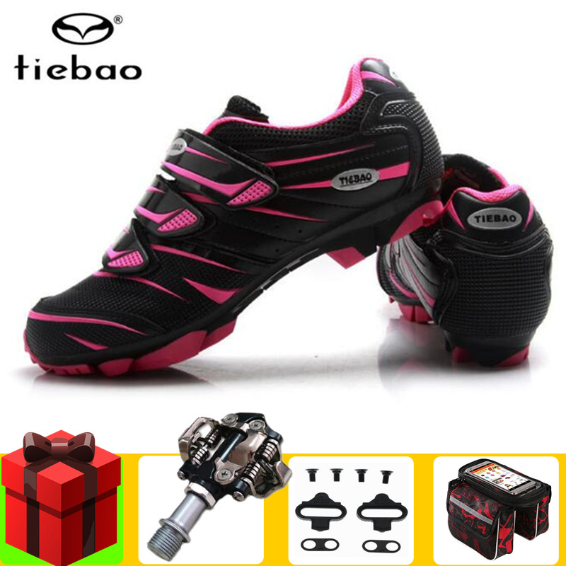 TIEBAO MTB cycling shoes women add SPD Pedal set bicycle shoes mountain bike sneakers professional self-locking breathableTIEBAO MTB cycling shoes women add SPD Pedal set bicycle shoes mountain bike sneakers professional self-locking breathable