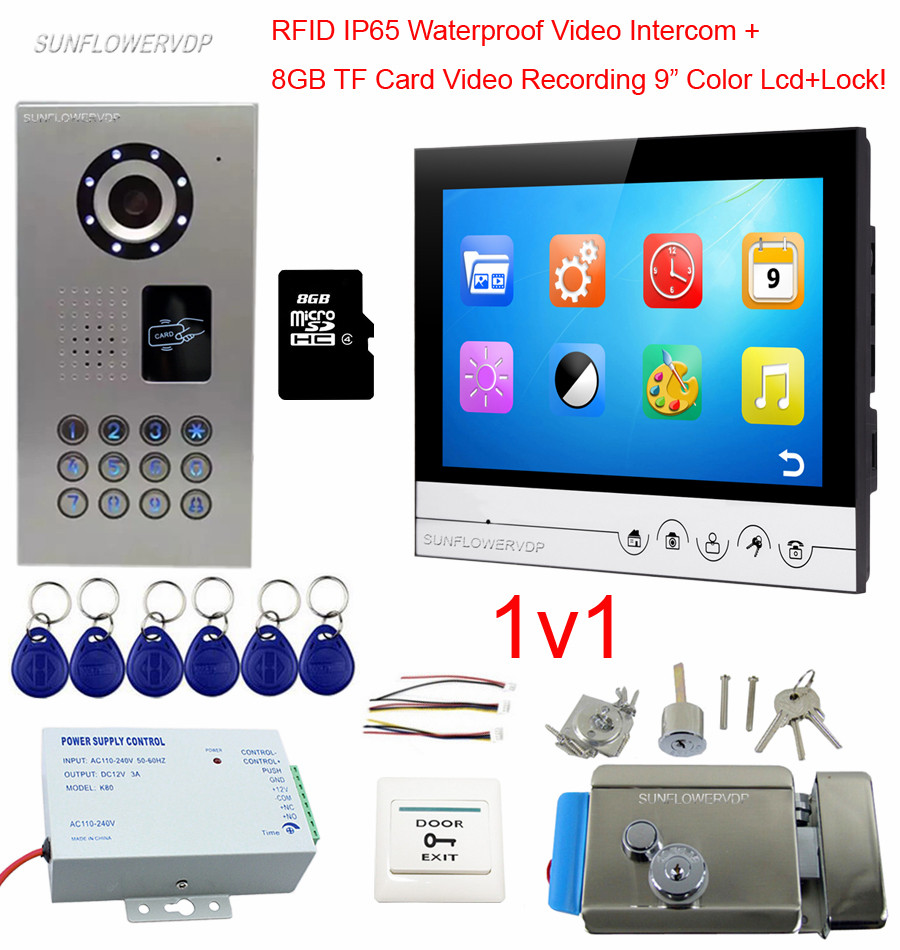 9 Inches 8GB TF Card Video Recording Home Video Door Phone IP65 WaterproofRfid Doorphone Video Intercom With Electronic Control