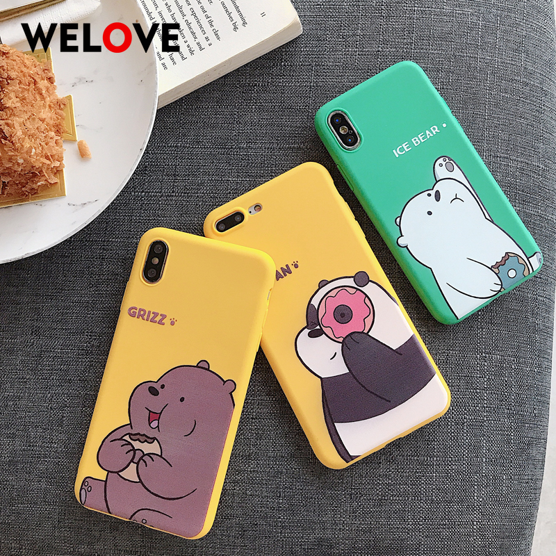 Hot Cartoon Bare Soft Phone Case For iPhone XS Max XR X 8 7 6 6S case Cute green yellow Eating sweets Donut animal Cover