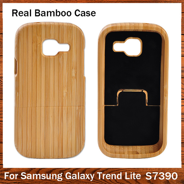 Hot sale Genuine Natural Bamboo Cover Coque For Samsung Galaxy Trend Lite S7390 S7392 Wooden Wood Case For Samsung GT-S7390